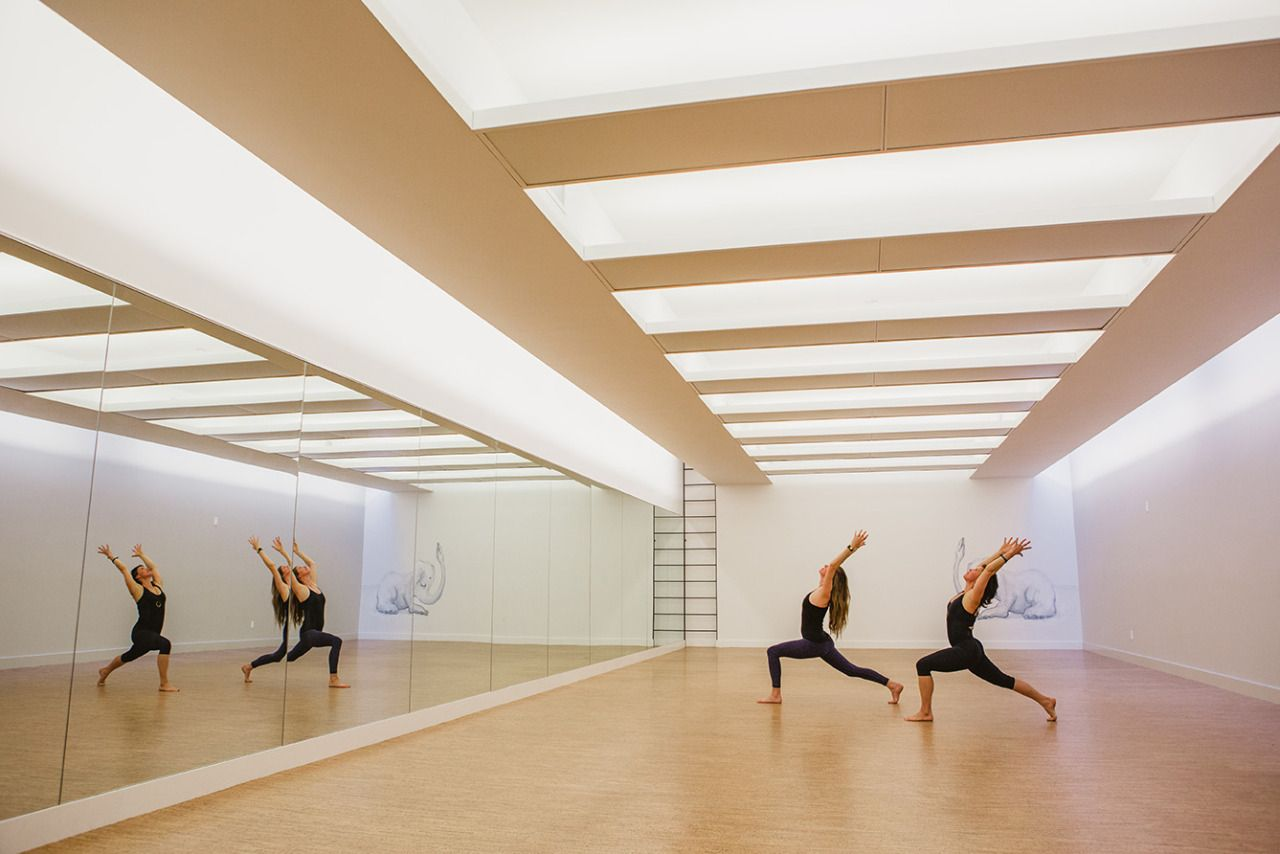 Two women dressed in black doing the warrior pose in Modo Yoga's yoga studio in Brooklyn, New York. MEP provided by 2L Engineering.