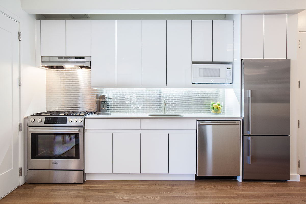 The kitchen of an apartment at The Lefferts House at 195 Hawthorne Street with MEP-FP engineering services provided by 2L Engineering