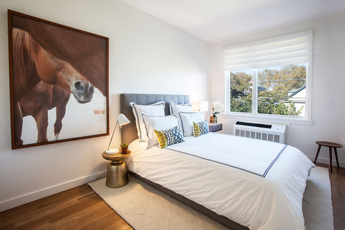 The bedroom of an apartment at The Lefferts House at 195 Hawthorne Street with MEP-FP engineering services provided by 2L Engineering