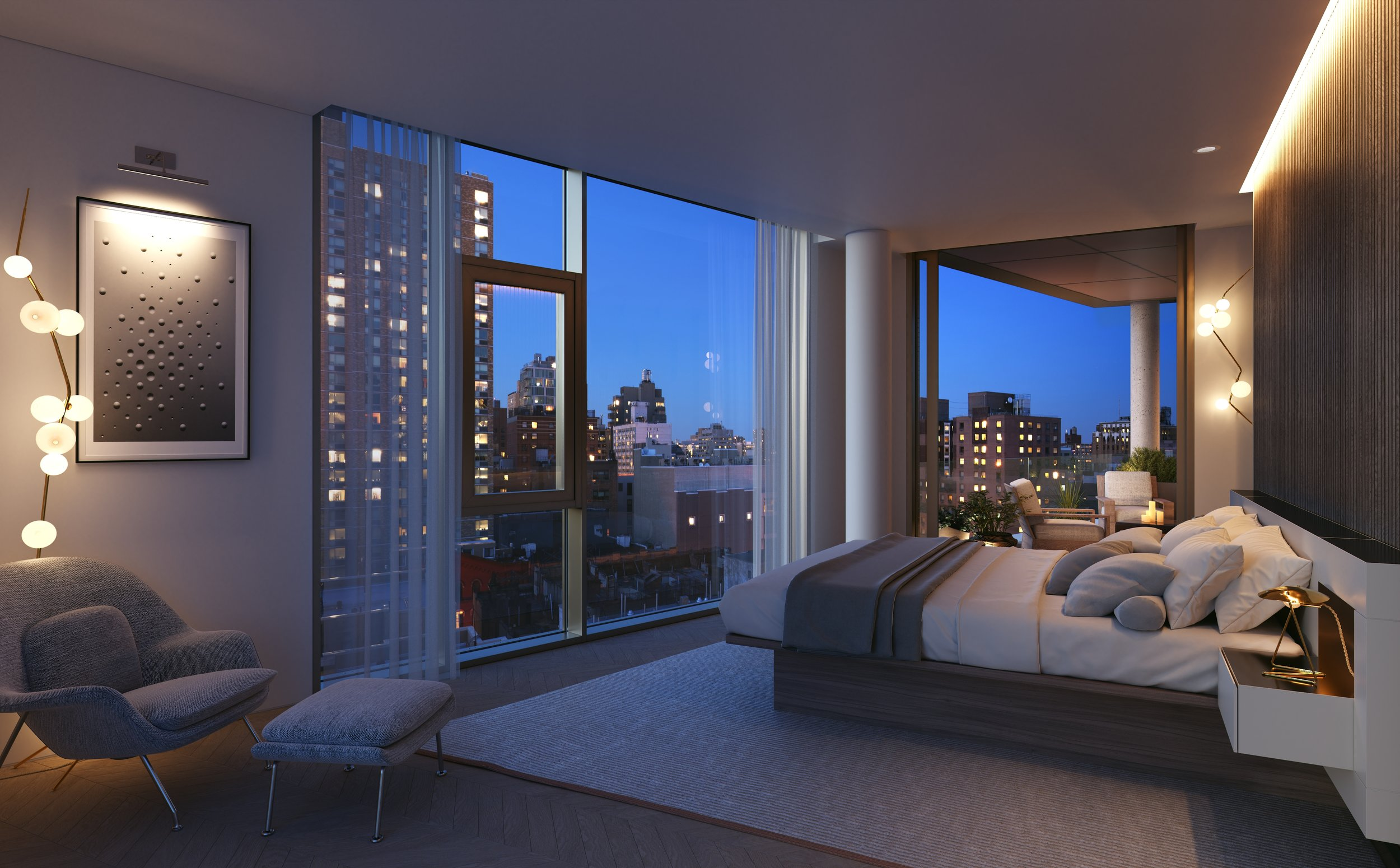 Rendering of master bedroom at 80 east 10th street with MEP-FP engineering services provided by 2L Engineering