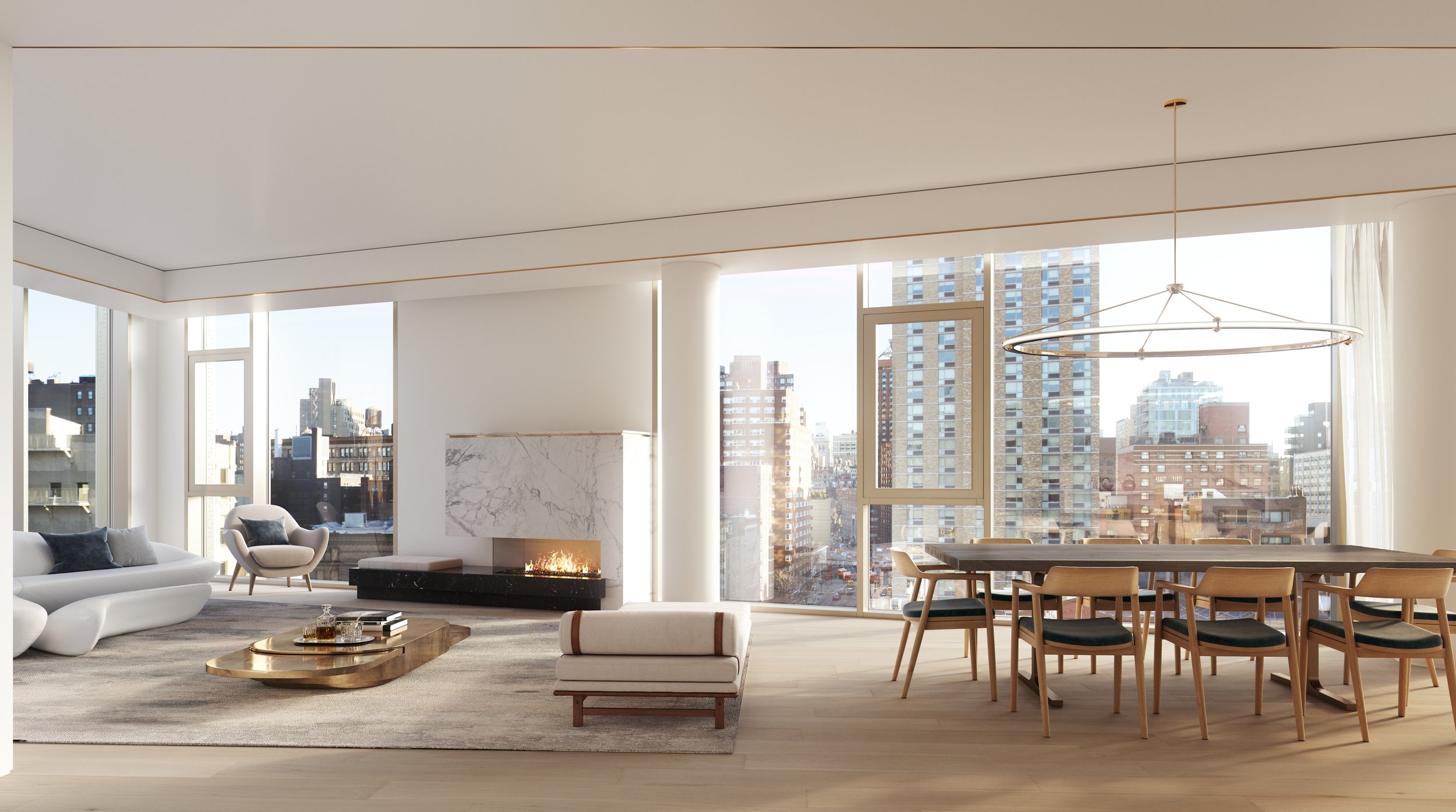 Rendering of living room at 80 east 10th street with MEP-FP engineering services provided by 2L Engineering
