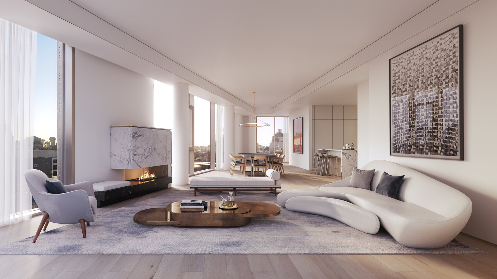 Rendering of the living room at 80 east 10th street with MEP-FP engineering services provided by 2L Engineering