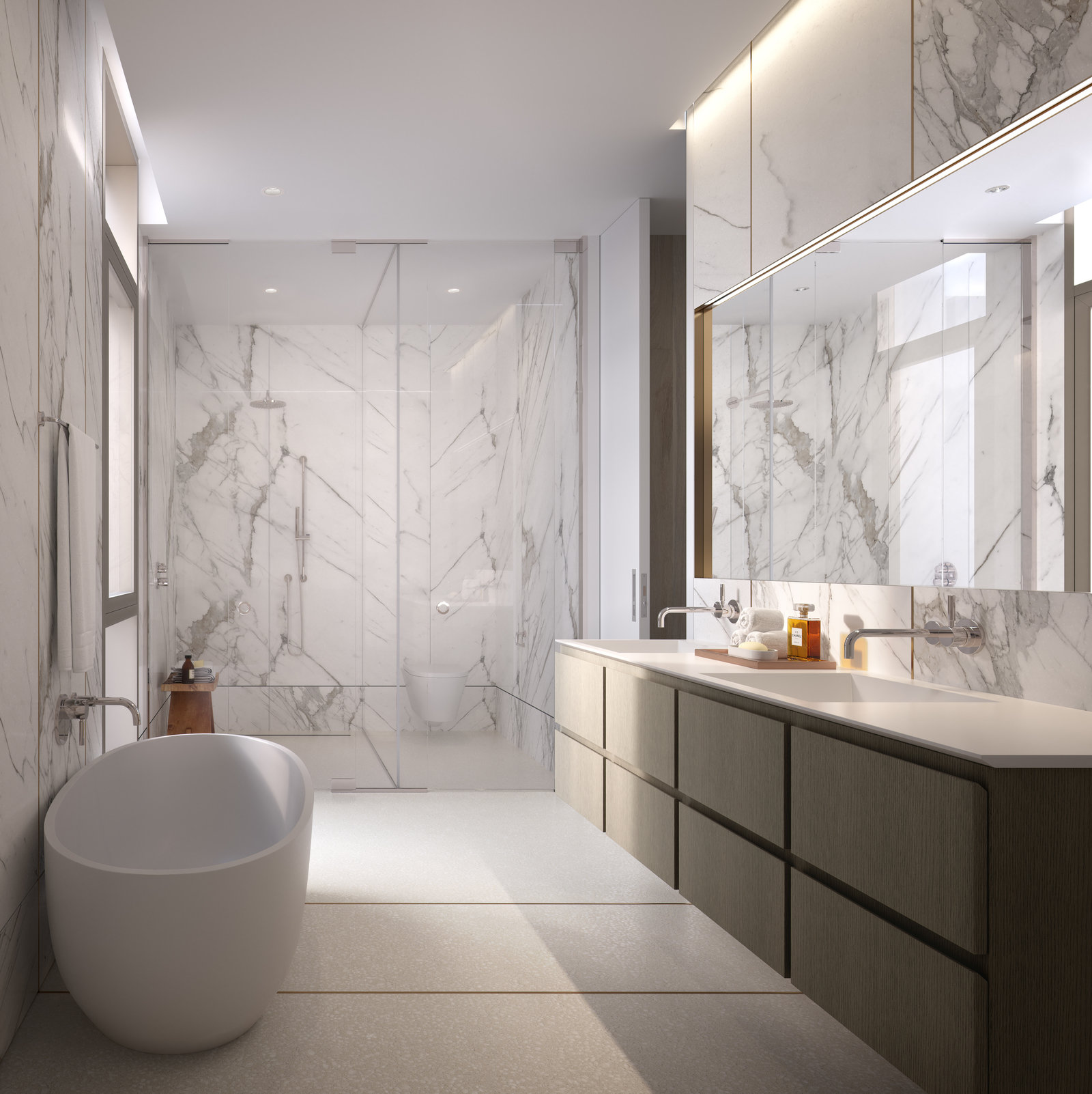 Rendering of bathroom at 80 east 10th street with MEP-FP engineering provided by 2L Engineering