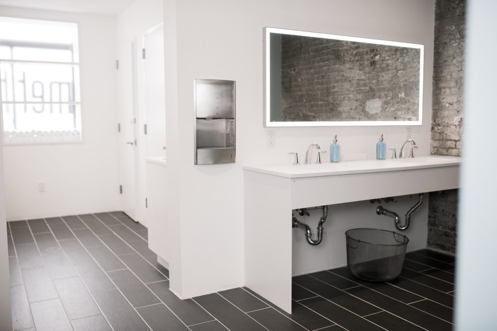 The bathroom at the Bar Method at Williamsburg with MEP engineering provided by 2L Engineering