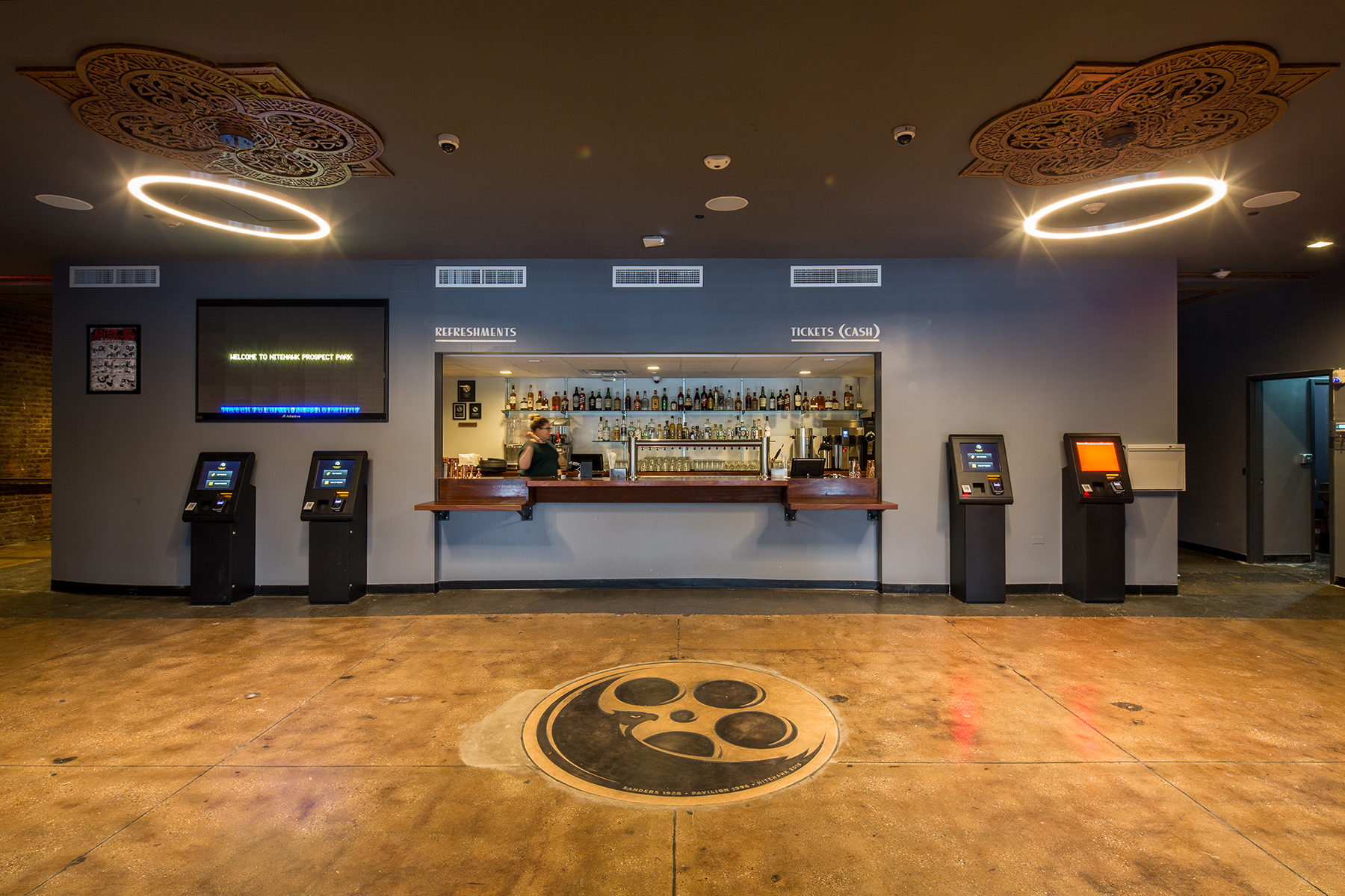 Concession stand and interior of the Nitehawk Cinema at 188 Prospect Park West in Brooklyn with MEP-FP engineering provided by 2L Engineering.