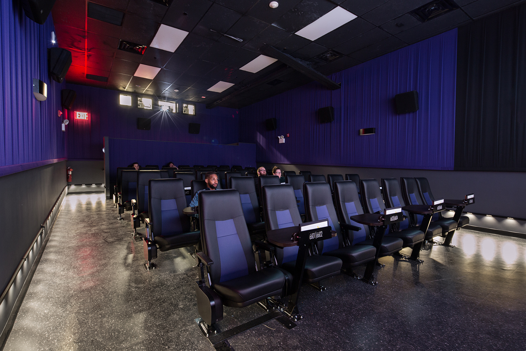 The interior of the Nitehawk Cinema at 188 Prospect Park Brooklyn, NY with MEP-FP engineering services provided by 2L Engineering.