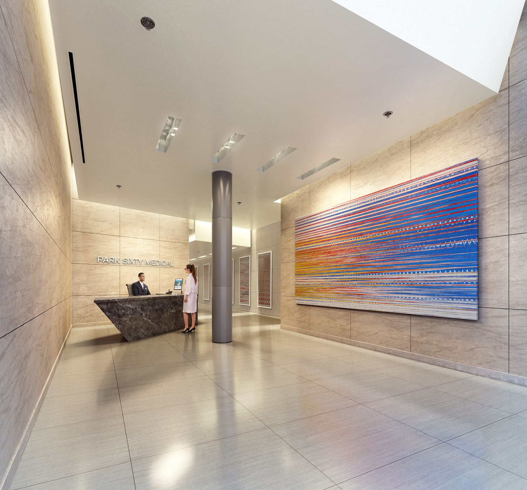 Rendering of the lobby of Park Sixty Medical located at 110 East 60th Street with MEP engineering services provided by 2L Engineering