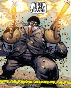 The Hulk in a suit and using machine guns. Why would he need to use machine guns? Shhh. Just look at how cool the image is!