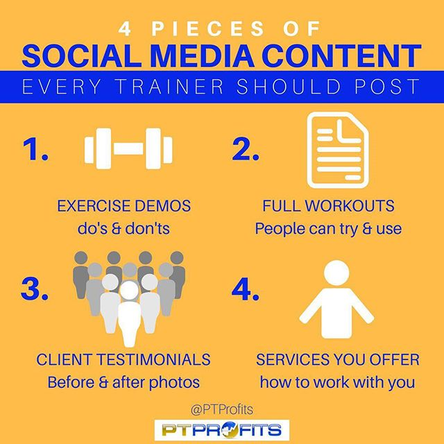 As a trainer using social media to attract clients, it's important to ensure you post the right content. .  Your audience/potential clients must see you as THE TRAINER to go to. .  In order to have that type of presence you must be showcasing: what you know, teaching your audience, giving away free content, showing the work you've done with clients. .  And most importantly HOW TO WORK WITH YOU! .  Every week you should be hitting all 4 of these types of content at least once!!! .  If you're looking for more clients from social media, you must prove to your audience EVERY SINGLE DAY that you are the trainer for them!