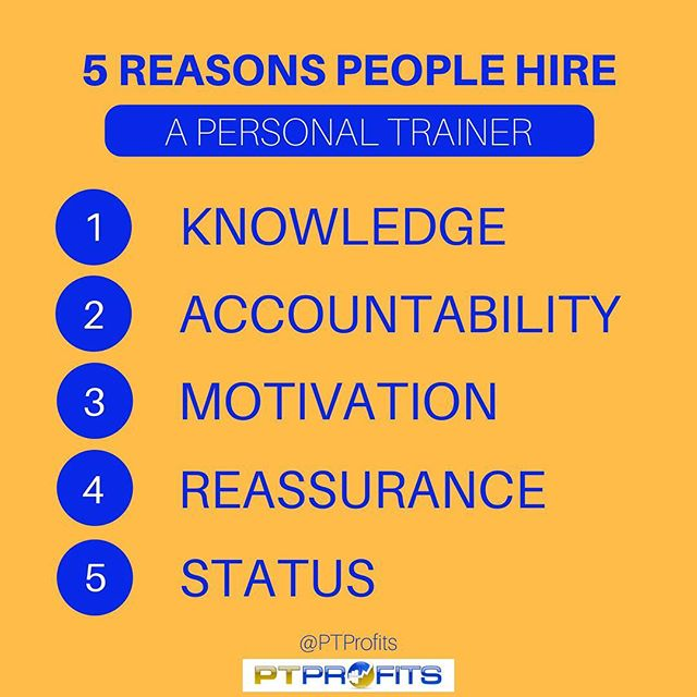 Do you know WHY each of your clients has hired you? .  Understanding this answer will help you better serve your clients and ultimately give them exactly what they need from you for optimal results. .  Motivation We may think that all clients need this, but that's not the truth. Someone who goes to the gym 4-5 days a week but hasn't seen any change in their body in years doesn't necessarily need motivation, that would be a knowledge client.  Someone with a negative mindset, who always gets down on themselves when they fall off track could use a constant dose of motivation. A client who is super impatient or very knew to the world of fitness and the process of making change can benefit from consistent motivation. .  Accountability This aspect is for those busy individuals, the ones who don't make themselves a priority or lead extremely packed schedules. This is where having an appointment to train or focus on themselves needs to be in place. Accountability can also be for clients who are on massive transformation journeys and need weekly check ins to stay on track and ensure progress is happening. Also those who have a long journey ahead of them, where you can create check marks and small focuses to not overwhelm them. .  Knowledge Most clients need this aspect. The general population gets a ton of conflicting knowledge on a day to day basis and we need to streamline that info for them, in order to produce effective results. .  Reassurance  How many clients have you seen sabotage themselves, get anxious about results, question everything and end up halting their progress? This happens a lot, and sometimes all it takes from you is a gentle reminder that they are on the right track. These are the clients that put in the work, don't need a ton of accountability or knowledge, just you reassuring their actions. .  Status This is rare, but these are the clients who just want to say that they 'have a trainer'. It's an ego boost for them more so than a desire to truly change