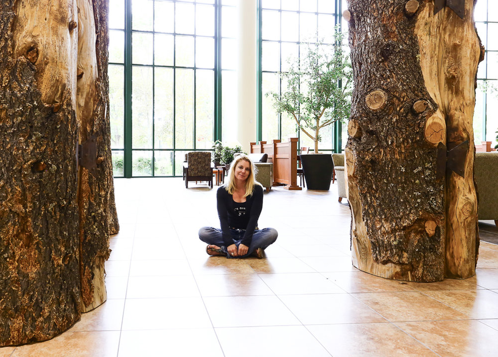 Reliquary tree sculpture installation at Billings Clinic Hospital