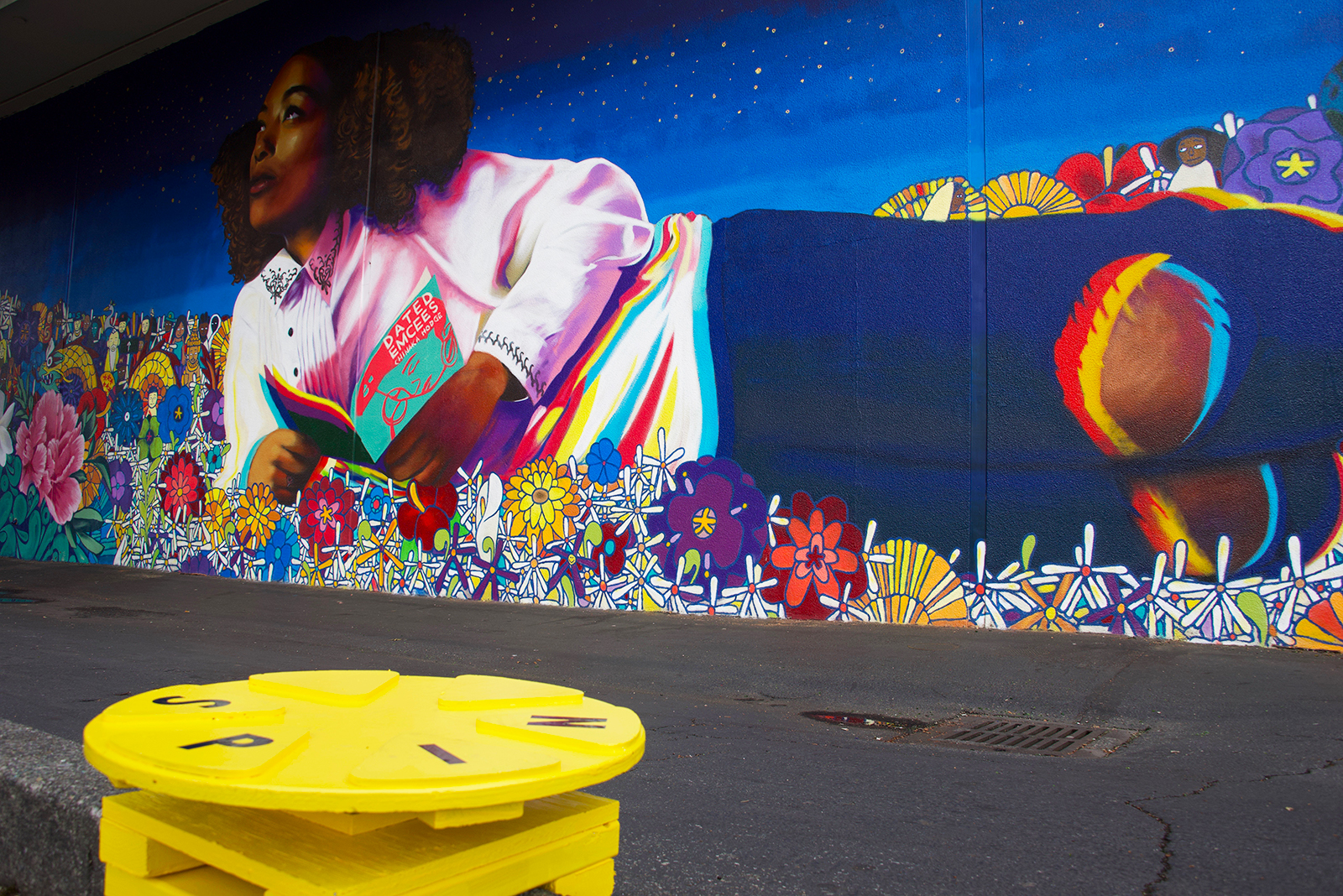 Interactive seating provides community members with a fun way to engage with the new neighborhood mural in Othello.