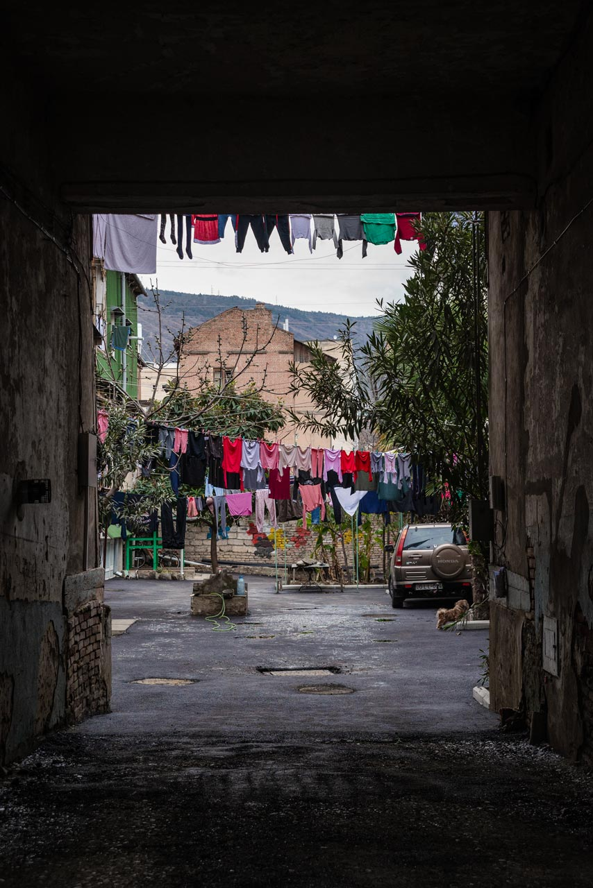 Clothes hanging between houses in Tbilisi, Georgia..