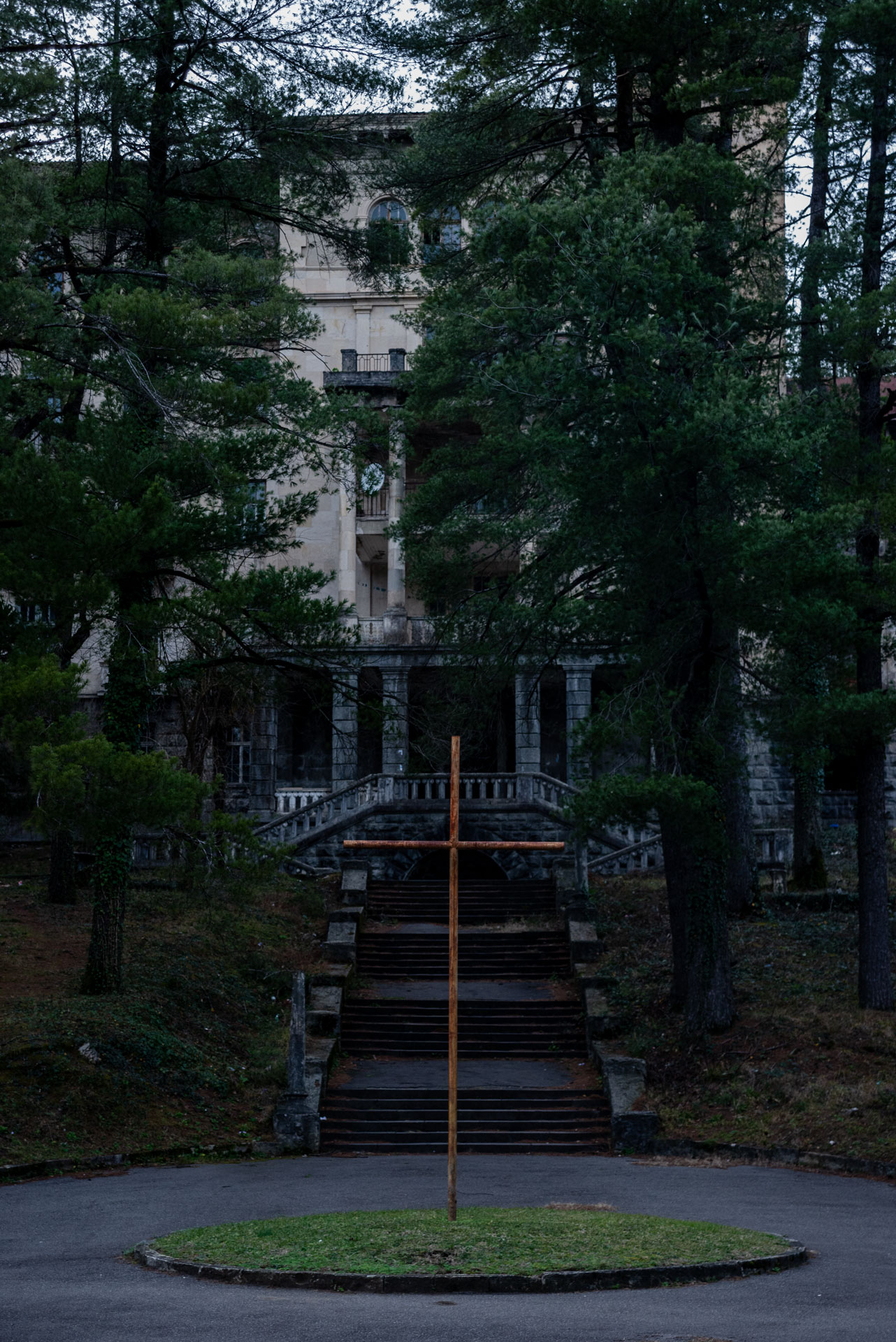 The entrance to one of the biggest sanatoriums in Tskaltubo. People were living in its interior.