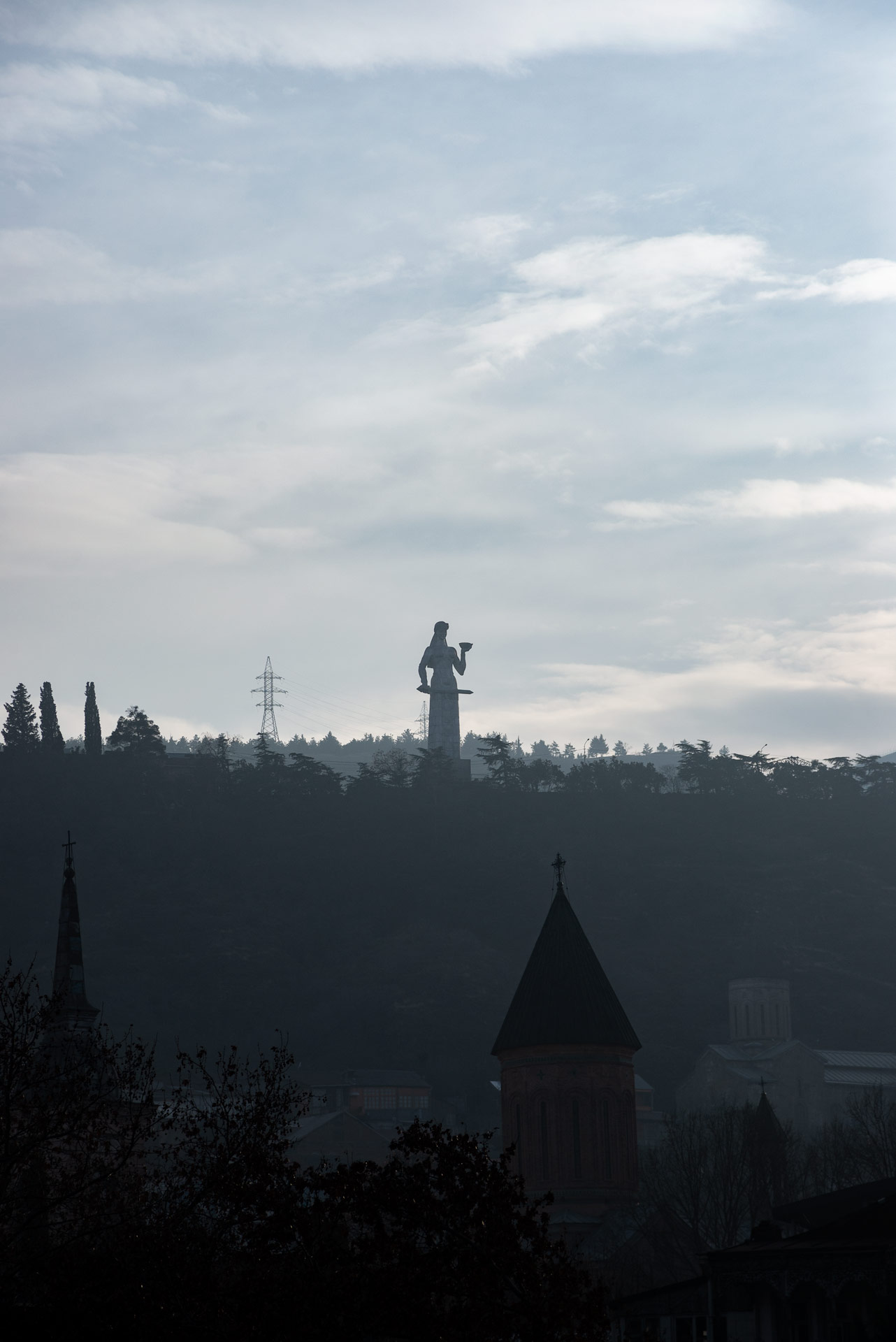 The statue of Mother Georgia from afar.