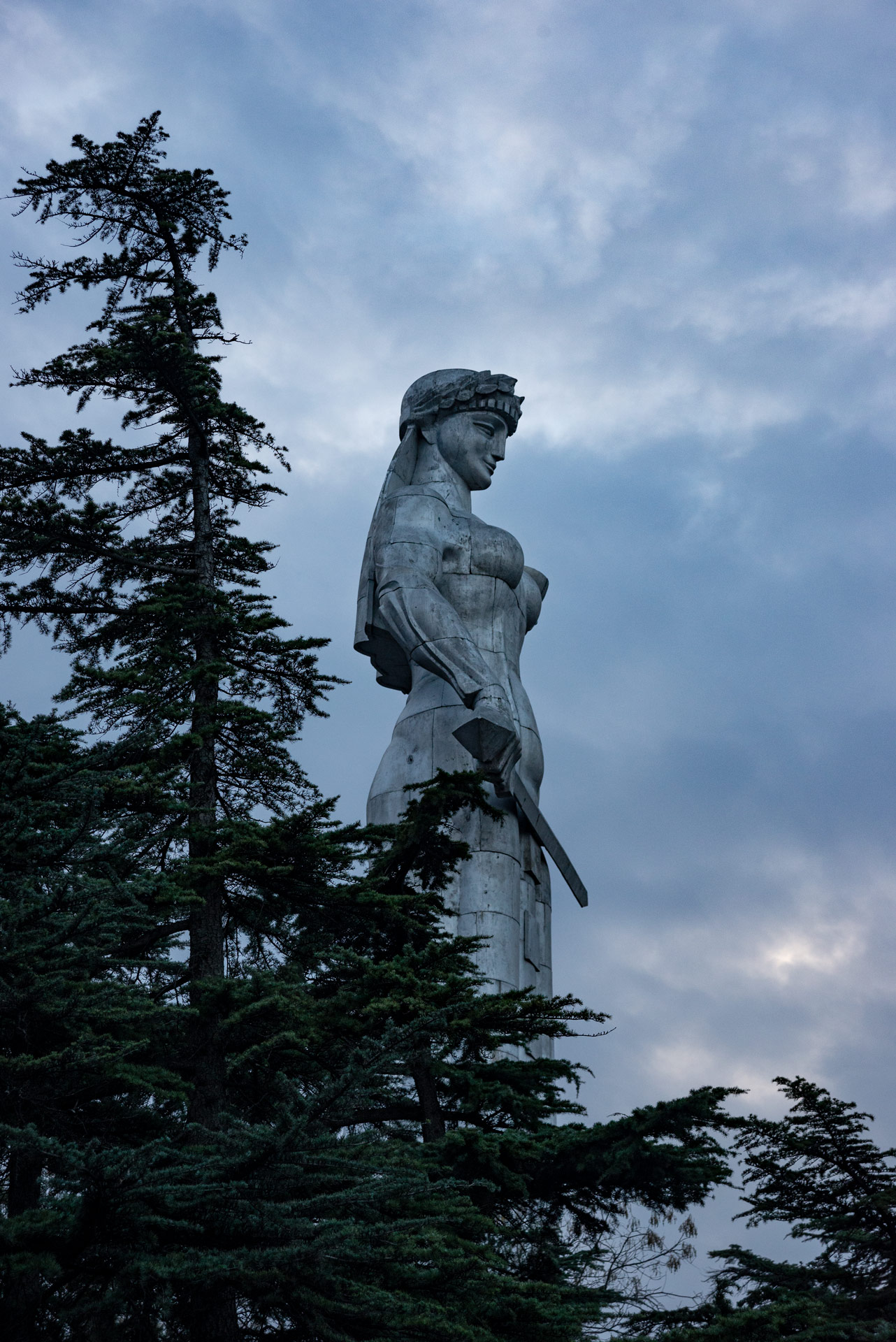 The imposing statue of Mother Georgia from atop the hill.