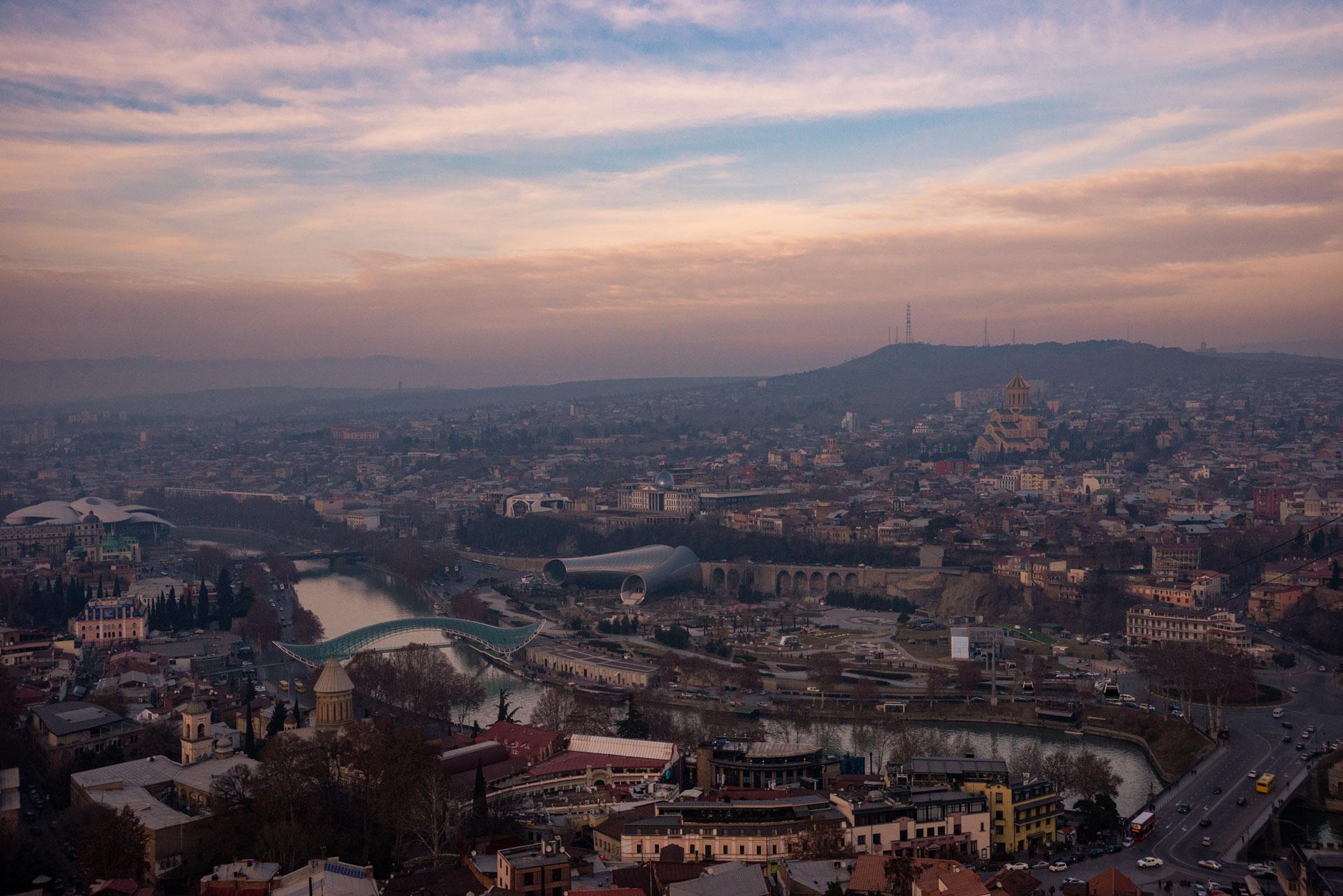 Tbilisi at sunset.