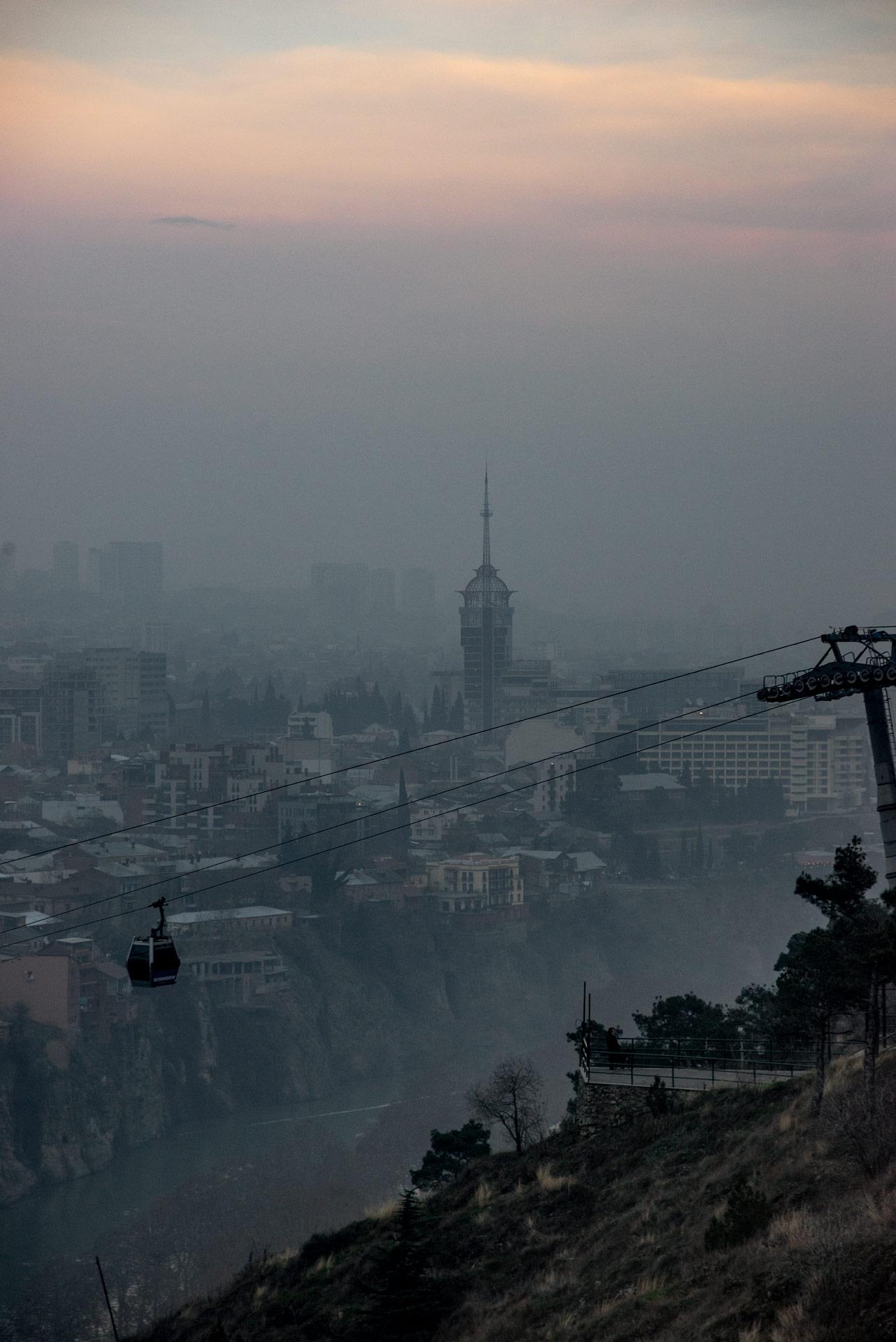 Tbilisi at dusk.