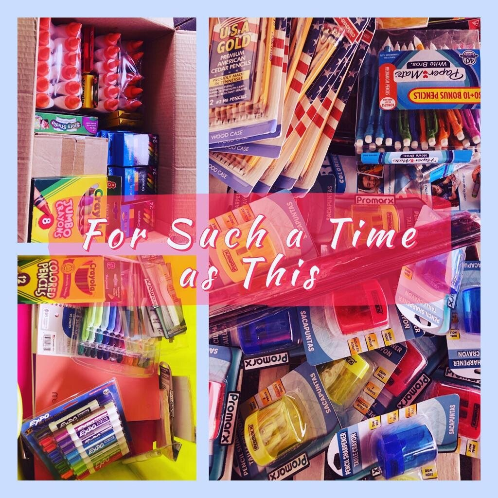 School supplies donated to kids who have been taken out of abusive homes.