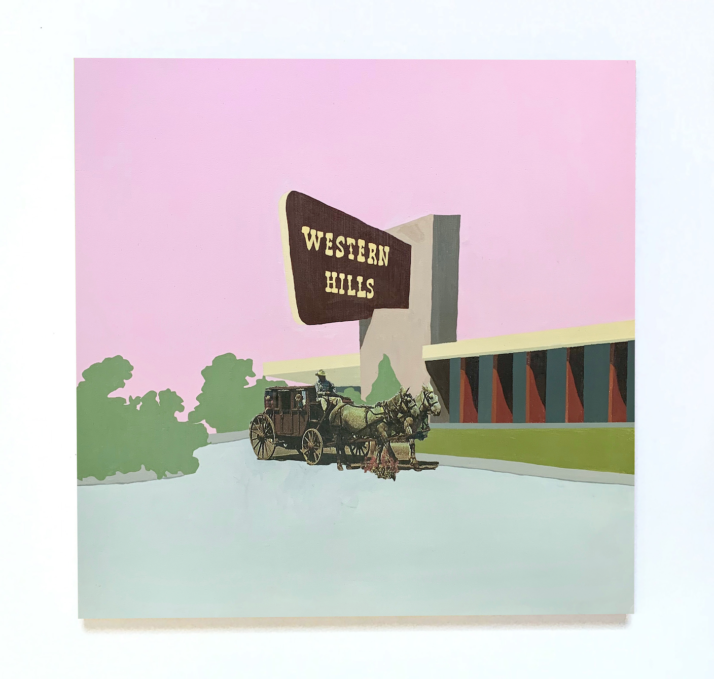 Western Hills,  2019, 30 in x 30 in, acrylic and collage on canvas