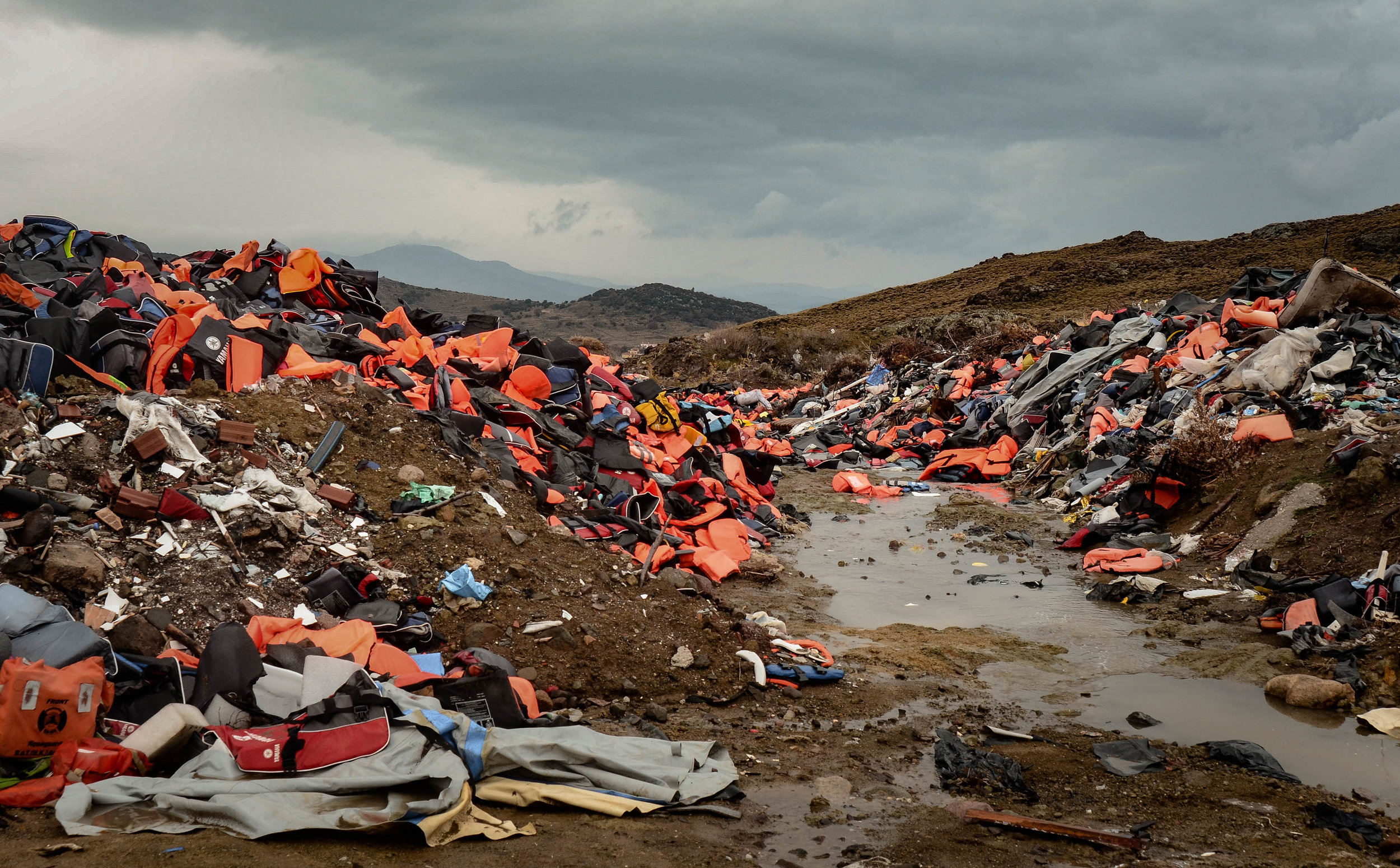 Life vest graveyard on Lesvos island, Greece. Photo by Everita Silina.