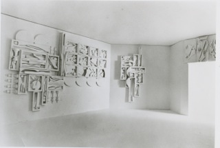 Maquette of the Twelve Apostles and Cross of the Resurrection. Elements on the Twelve Apostles maquette but not on the original include the chess pieces, replaced with curving wood elements. Elements missing on the maquette but present on the final sculpture are curving elements attached to the four lower circular elements.