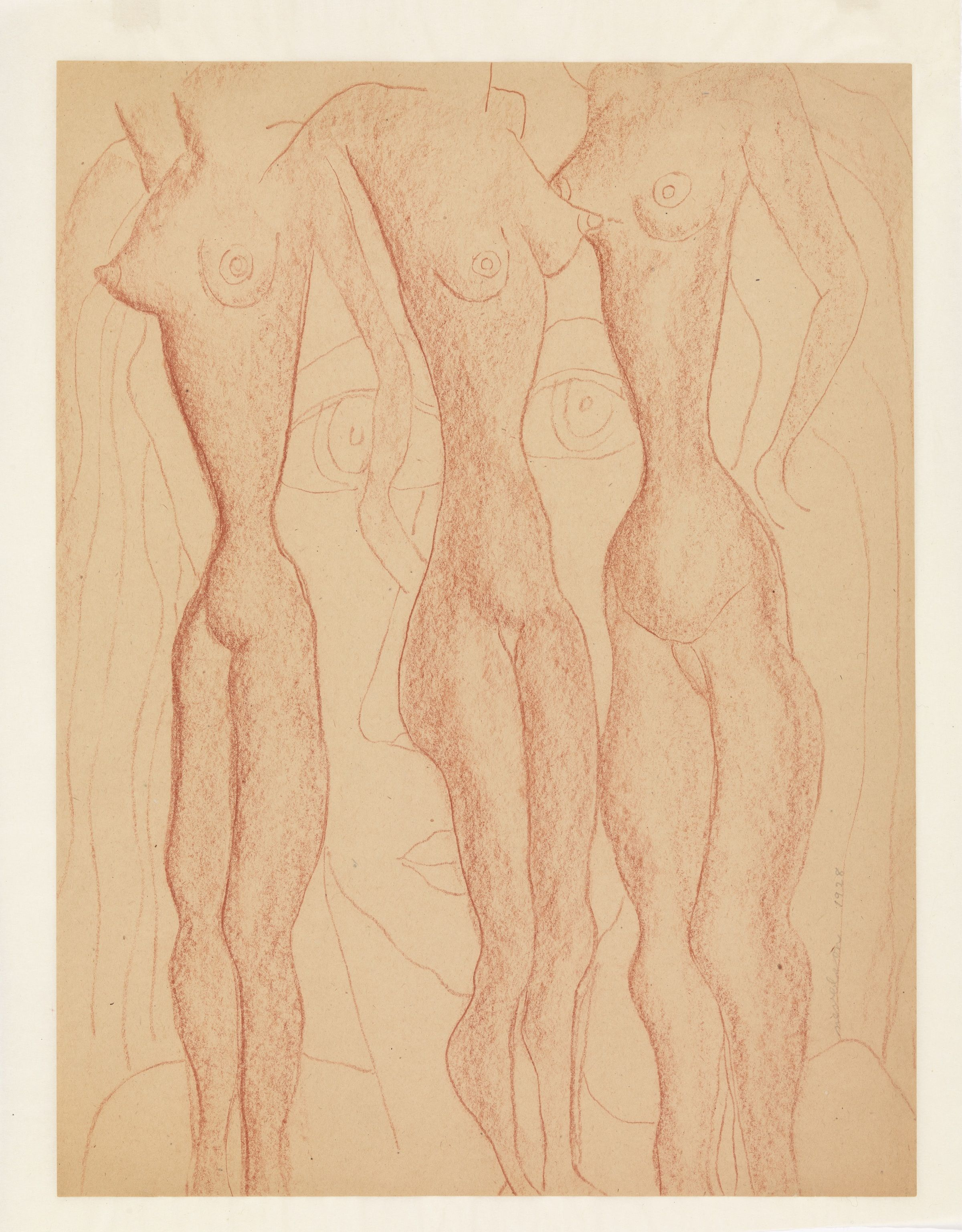 Louise Nevelson (1899-1988), Untitled , 1928. Fabricated red chalk on paper: sheet, 17 5/8 × 13 3/8 in. (44.8 × 34 cm); mount: 19 9/16 × 15 1/2 in. (49.7 × 39.4 cm). Whitney Museum of American Art, New York; gift of the artist 69.220. © 2018 Estate of Louise Nevelson/Artists Rights Society (ARS), New York