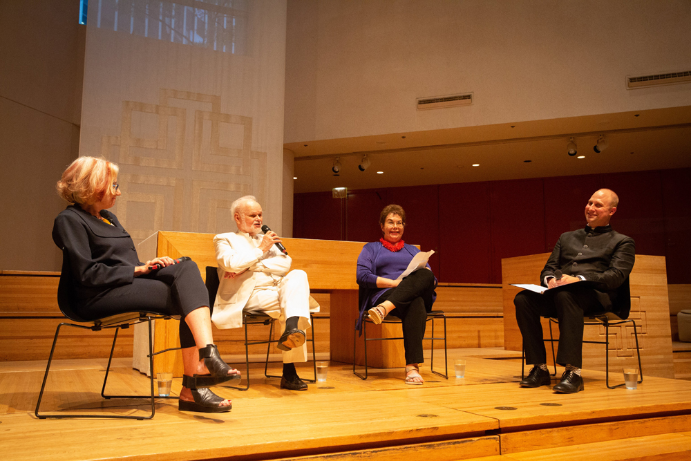Panelists Chapel conservation architect Jane Greenwood, Citigroup Center architect Easley Hamner, Nevelson biographer Laurie Wilson and Pr. Jared Stahler