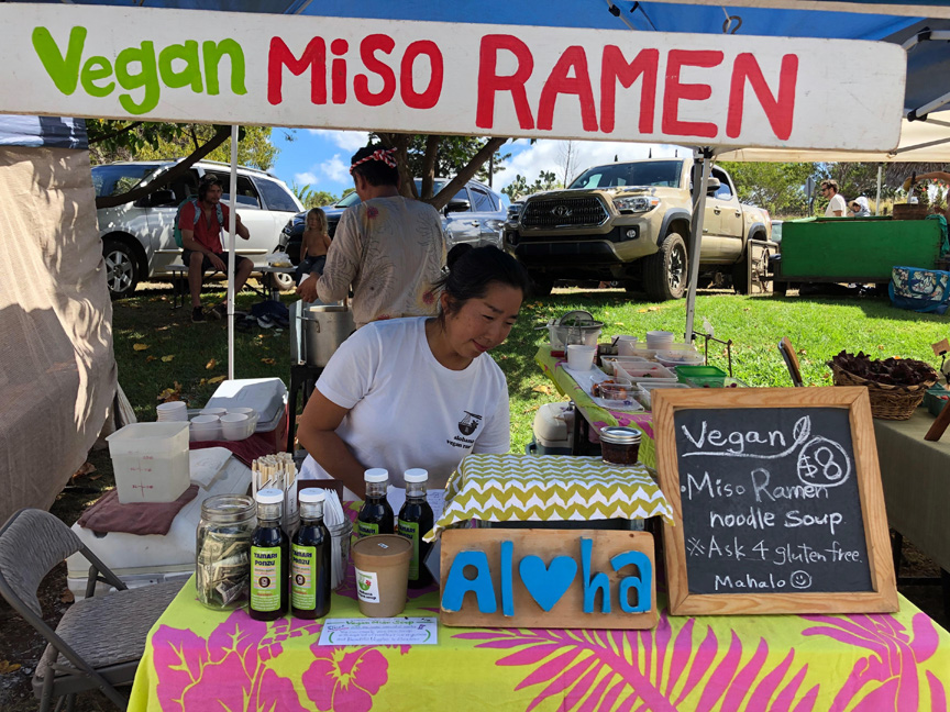 One of the vendors at the organic Wednesday farmers market in Kula.