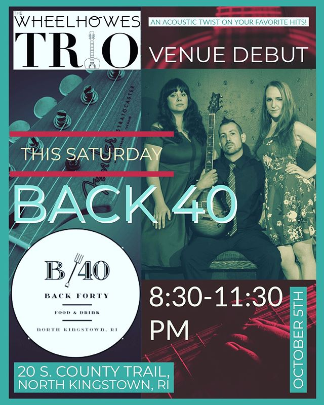 New venue alert!! The Trio is excited to be venturing to @back40ri this Saturday night for our first time!! A must check out restaurant with a killer menu! Join us as we play your favorites 8:30-11:30pm!!