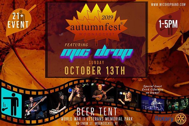 Sunday we are really excited to be performing at the annual Woonsocket @autumnfestri in the Beer Tent from 1-5pm! A must check out if you're in the area! 21+ Event. Special guest Erick Cifuentes on drums! 🍂@autumnfestri #autumnfestri #woonsocketri #autumnfest #micdropband