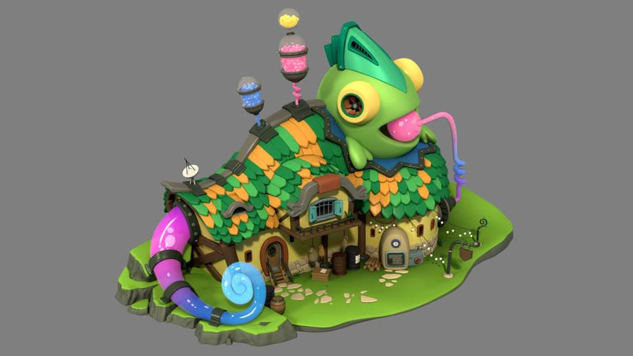 """ Chameleon House"" -  modeled in Maya, shaded and rendered with Arnold"