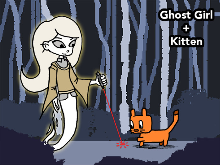 Ghost Girl and Kitten - An interactive platforming web browser game.