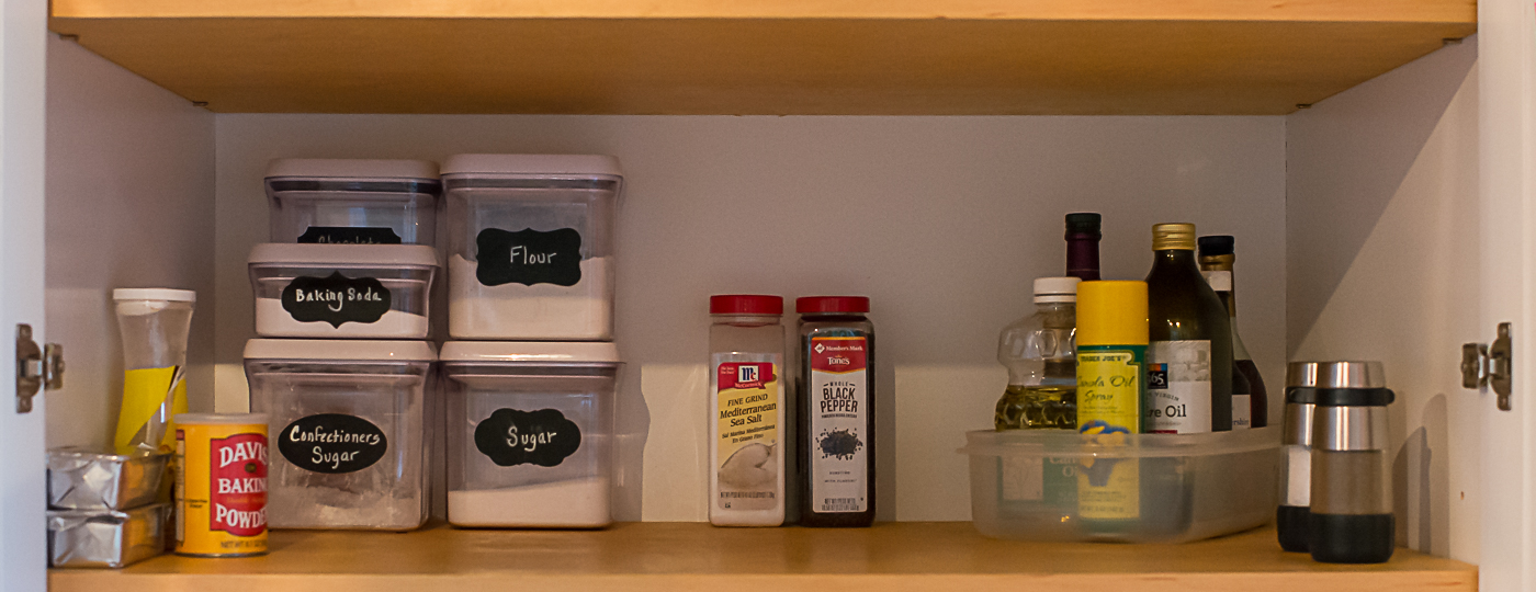 Pantry with labeled containers
