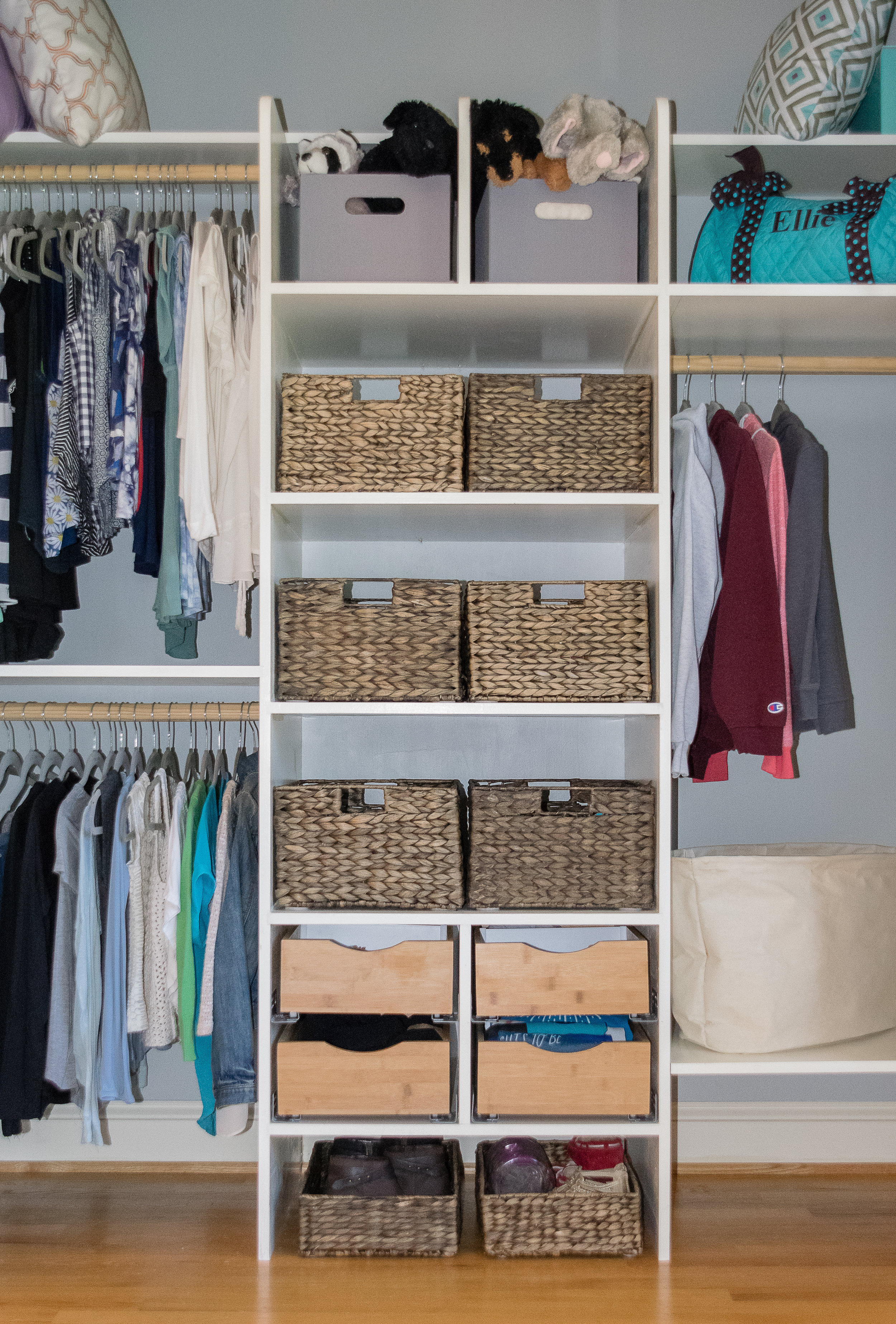 Teen closet with baskets and drawers
