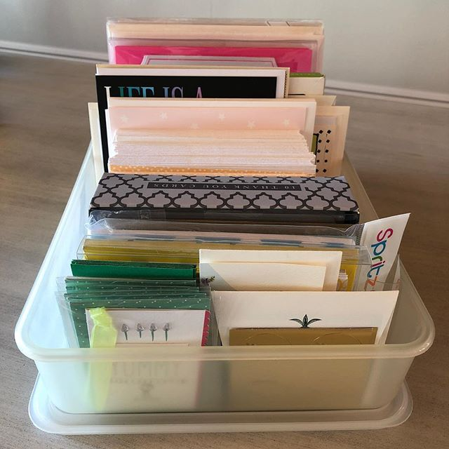 Organize your cards in a bin so you can easily pick one when you need it. This IKEA bin is just the right width to hold cards so they don't slide around. Placing cards on their side allows you to quickly thumb through and pick the perfect one.  Here's a tip: keep a pack of both feminine & masculine thank you cards, a few sympathy cards, some very small gift cards and a few different packages of blank cards, including a youthful design if you have kids. It's so nice to have these on hand instead of running out for a card each time an event comes up.  #shelf Space organizing #Tidy #OrganizedHome #HomeOrganized #CardStorage #CardStorageBox #AnnapolisOrganizers