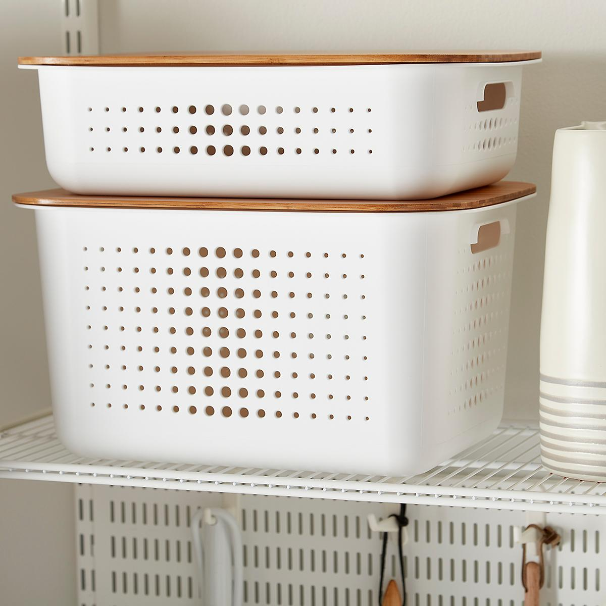 Container Store White Nordic Storage Baskets with Handles