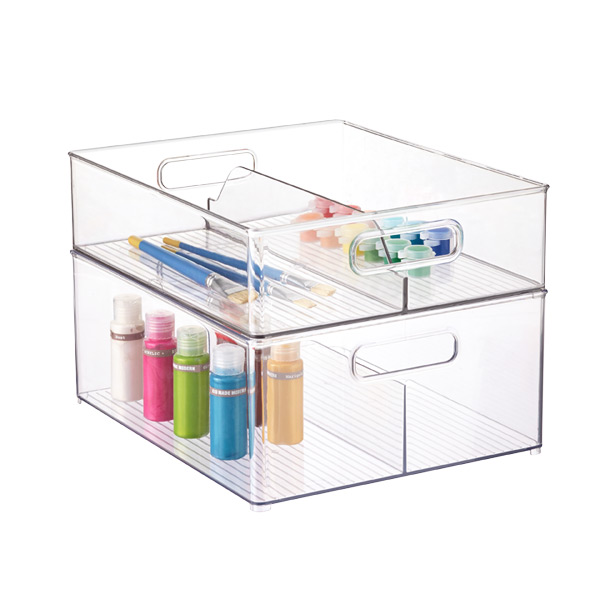 The Container Store InterDesign Linus Clear Divided Stackable Bins with Handles