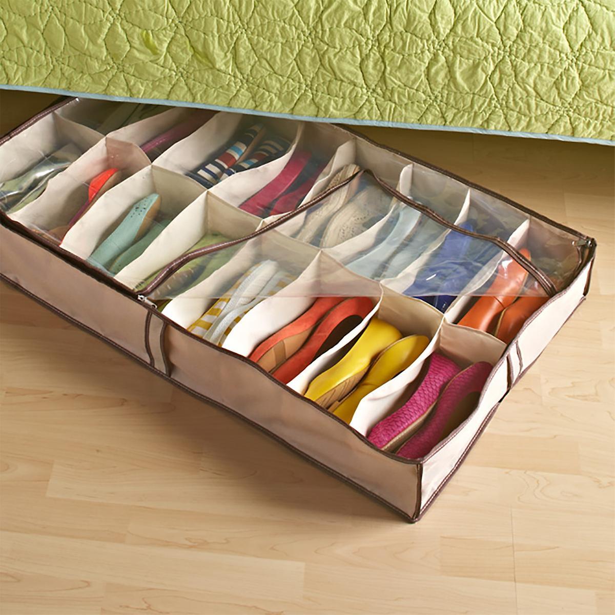Tweed 16-Pair Under Bed Shoe Organizer