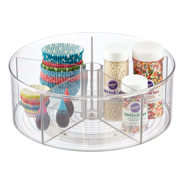 Container Store InterDesign Clear Linus Divided Lazy Susan