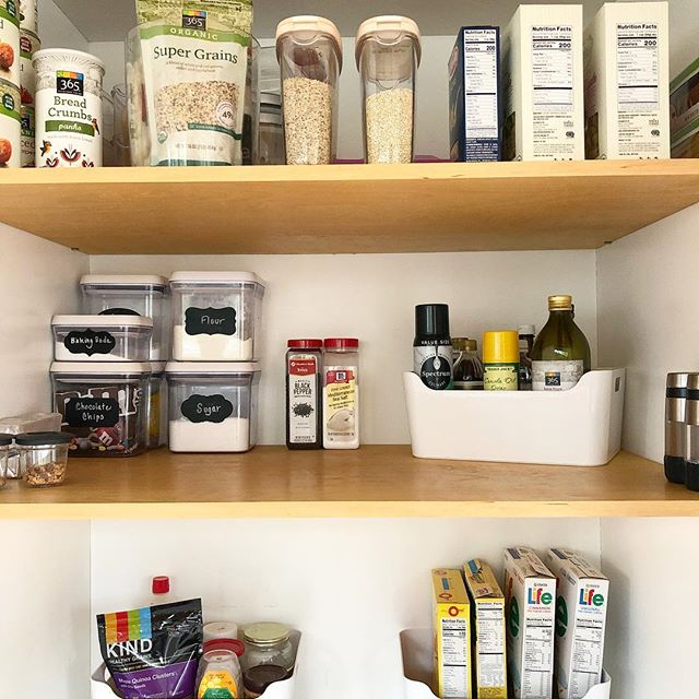 Give your pantry a facelift this spring! These cute white bins from Ikea are perfect for your oils, honey, syrup etc, all of the things that could stain your shelf. They are also great to group things like cereal or pasta.  #professionalorganizer #shelfspaceorganizing #annapolisorganizer #organizingpantry #pantryorhanizing #organizedhome