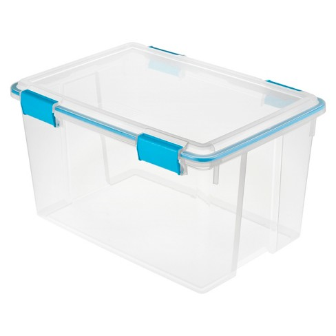 Sterilite 54 Qt Gasket Box Clear with Blue Latches