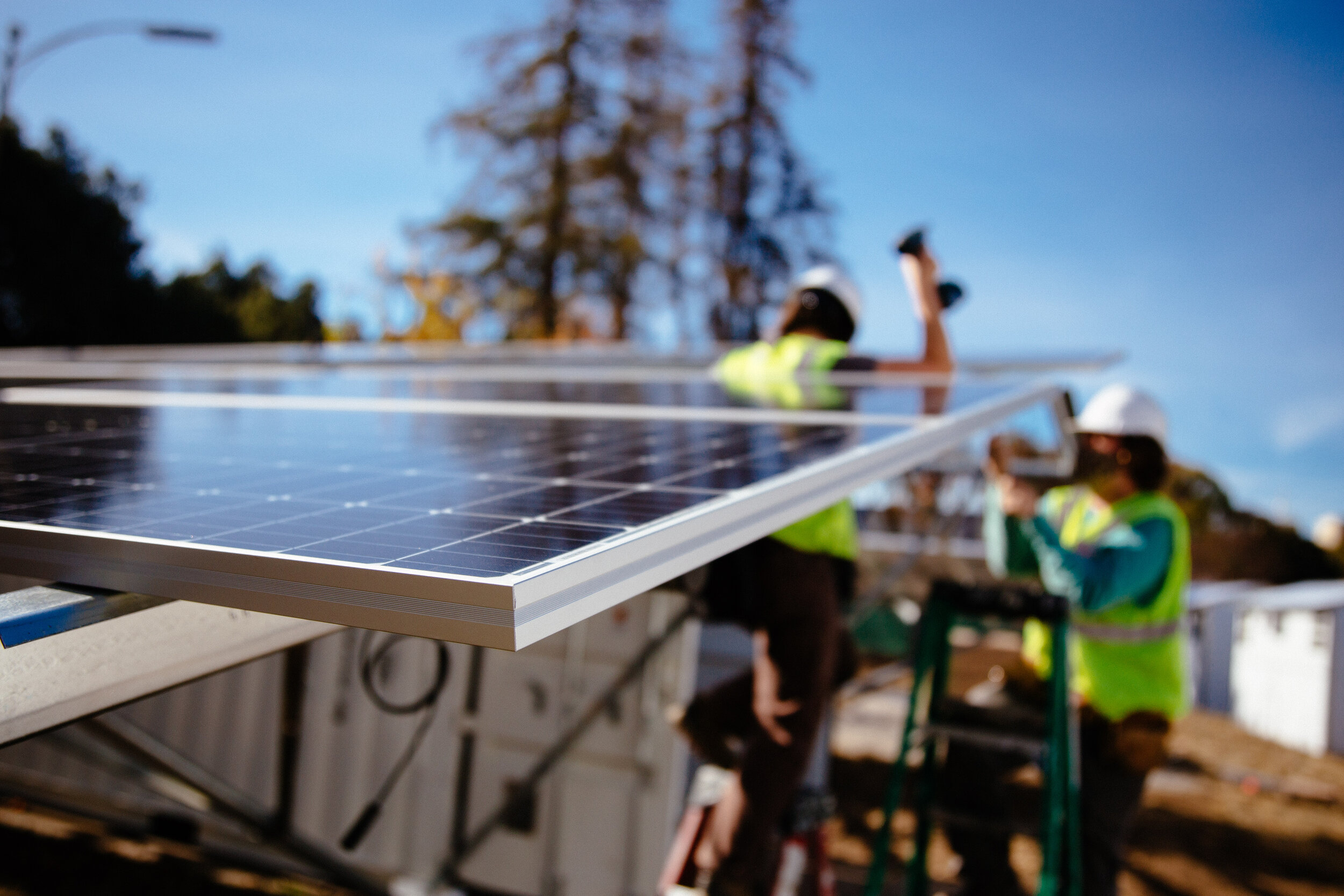 During the day, the sun produces energy via the 22 kilowatts of solar mounted to each box.  Photo courtesy BoxPower
