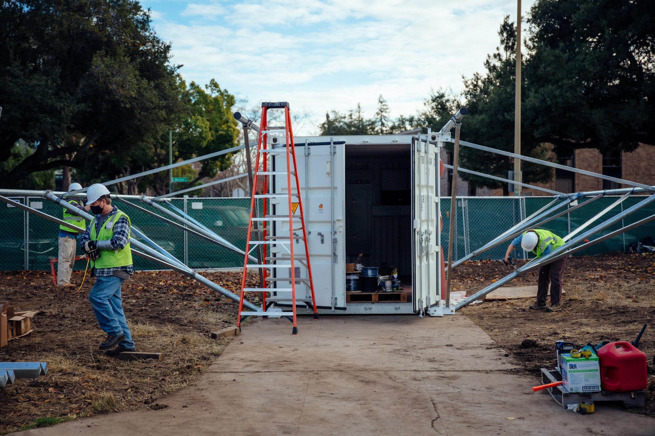 BoxPower crews install the microgrid at Casitas de Esperanza in San Jose. Photo courtesy BoxPower