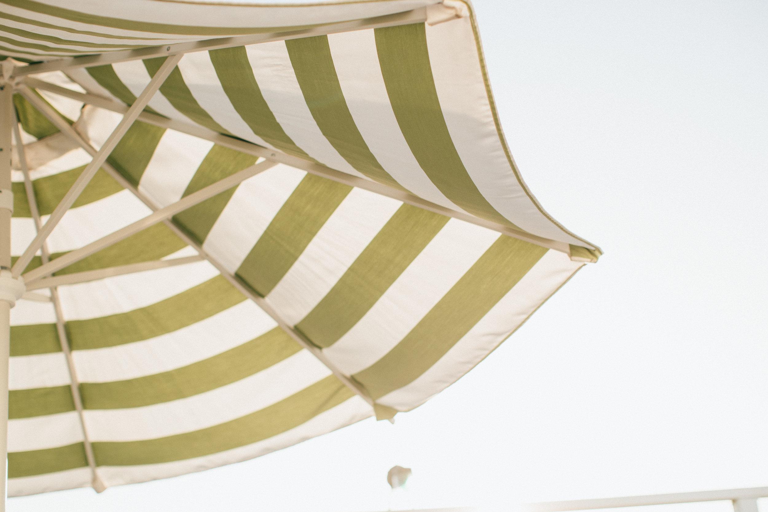 Alta House Green and White Patio Umbrellas