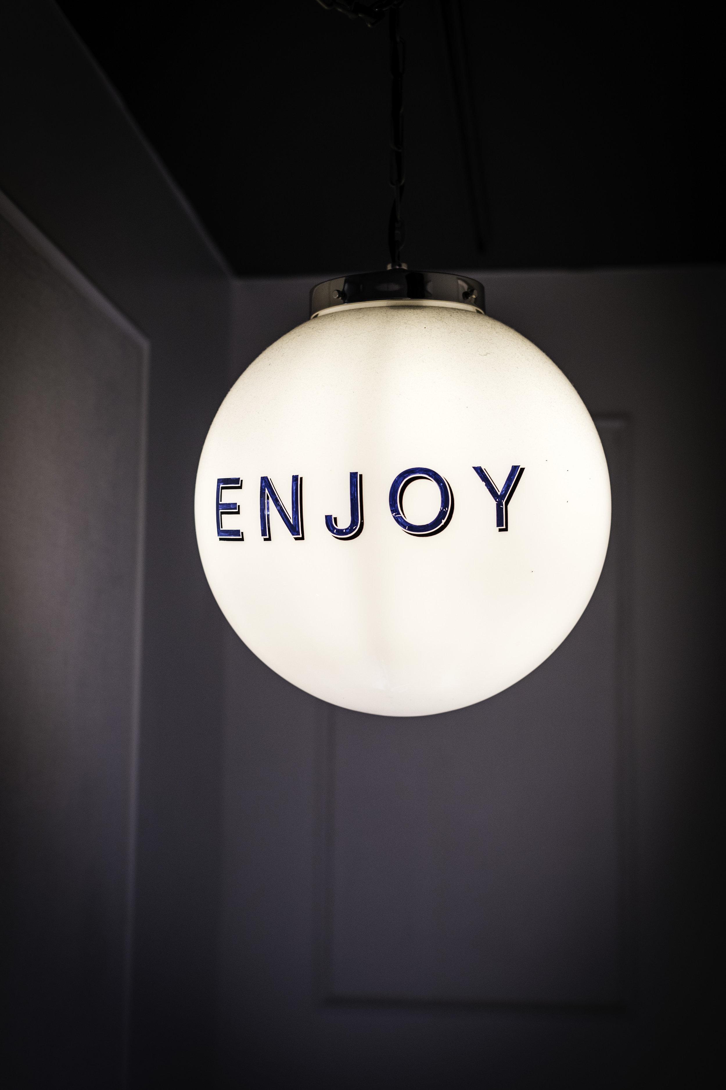 """Light Fixture at Alta House """"Enjoy"""""""