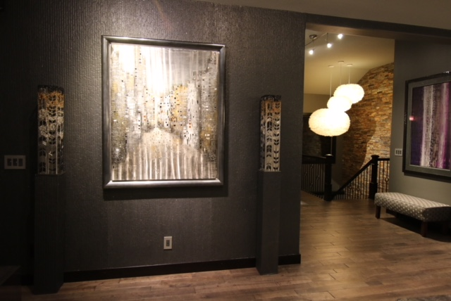 Original artwork with hand made silver wall textured walls.