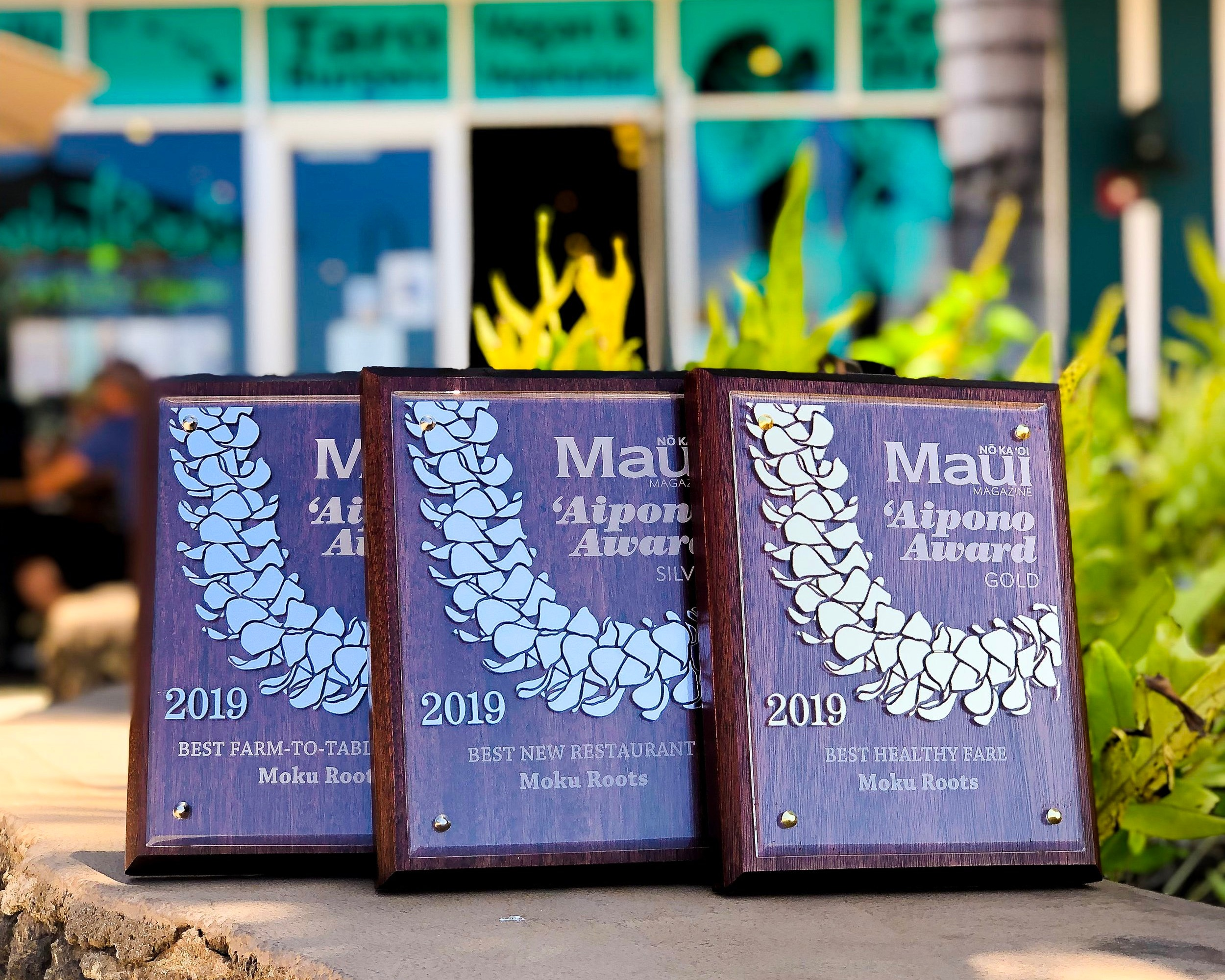 "MAUI MAGAZINE AIPONO RESTAURANT AWARDS   Maui Nō Ka ʻOi Magazine  | 2019  We were awarded Gold for ""Best Healthy Fare,"" Silver for ""Best Farm To Table,"" Silver for ""Best New Restaurant,"" honorable mention for ""Best Burger,"" and honorable mention for ""Best Restaurant."" A huge thank you to our customers for voting!"