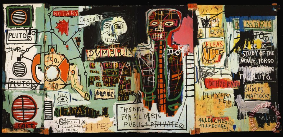 """Jean-Michel Basquiat, Notary, 1983. Acrylic, crayon and canvas, 71"""" x 158"""". Private Collection. Image retrieved from  https://www.wikiart.org/en/ ."""