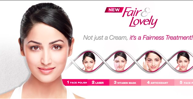 An advertisement for the bleaching cream, Fair and Lovely